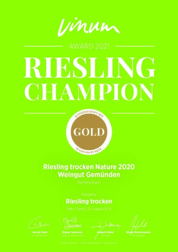 Urkunde Vinum Champion 2021